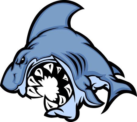 Imagen de caricatura de mascota de tiburón Ilustración de vector