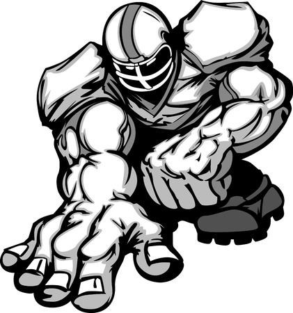 football silhouette: Calcio giocatore Lineman Cartoon Vettoriali