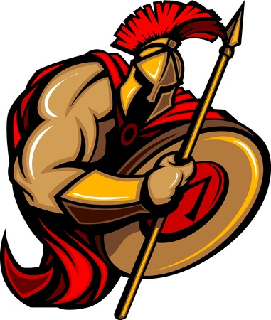 cascos romanos: Caricatura de mascota troyano espartana con lanza y escudo Vectores
