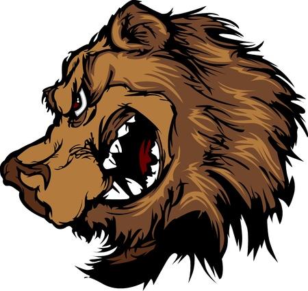 Grizzly mascotte hoofd Cartoon dragen Stock Illustratie