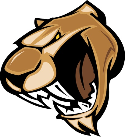 Cougar Mascot Head  Graphic