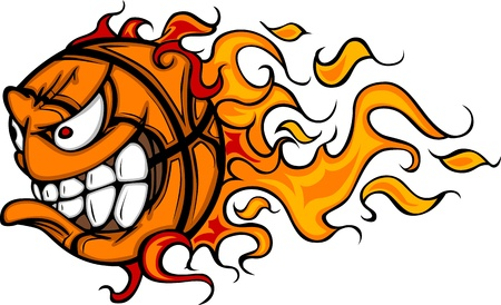 basketball ball on fire: Flaming Basketball Face Cartoon