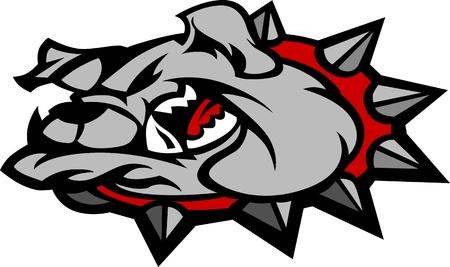 high school sports: Bulldog Mascot Head Illustration