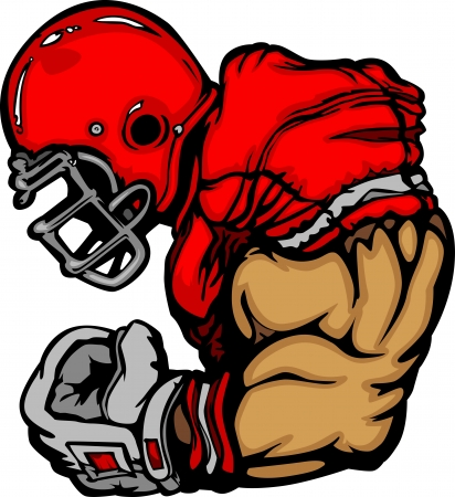 football helmet: Football Player Lineman Cartoon Illustration