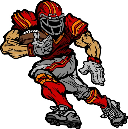 football helmet: Football Player Runningback Cartoon Illustration