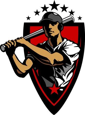 Baseball Player Batting Ontwerpsjabloon Stock Illustratie