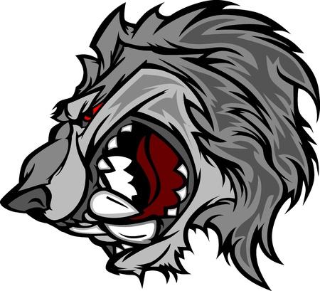 lobo: Dibujos animados de mascota Lobo con arrepintiéndose cara