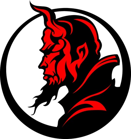 Ilustración de cabeza de mascota demonio demonio