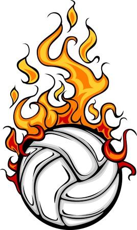 Voleibol llameante de la bola de la historieta Ilustración de vector