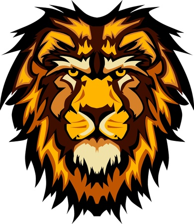 leones: Logotipo de mascota gr�fico de cabeza de Le�n Vectores
