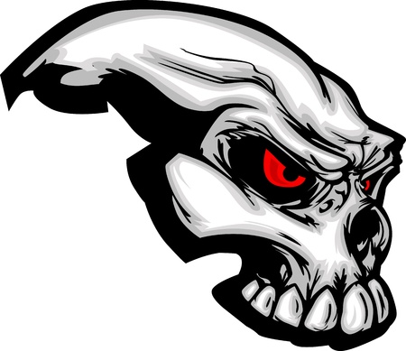 Skull with Cartoon Image Vector