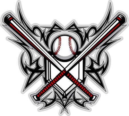 baseballs: Baseball Softball Bats Tribal Graphic Image
