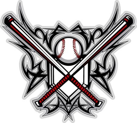 Beisbol softbol murciélagos tribales imagen gráfica Ilustración de vector