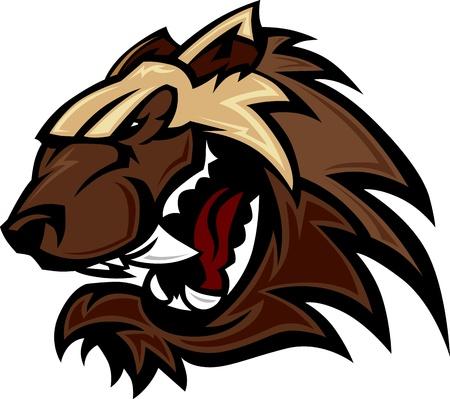 badger: Wolverine Badger Mascot Head Illustration Illustration