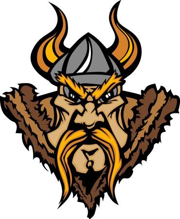 vikingo: Viking mascota caricatura con casco con cuernos