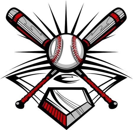 Baseball or Softball Crossed Bats with Ball Image Template Vector