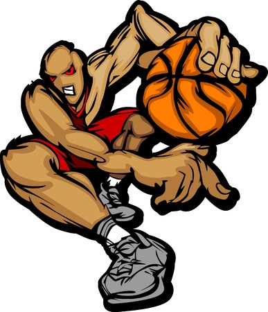 canestro basket: Cartoon giocatore di basket Dribbling basket illustrazione Vettoriali
