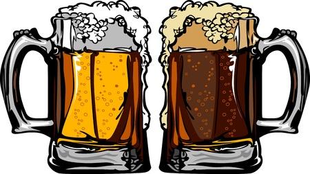 cerveza: Cerveza o cerveza de ra�z tazas Im�genes Vectores