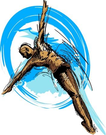 piscina olimpica: Silueta de nataci�n buceo Sketch Vectores
