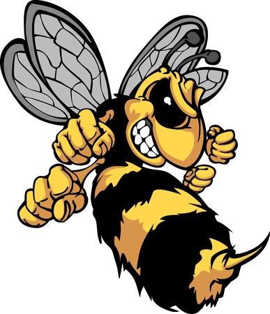 avispa: Imagen de caricatura de abeja Hornet Vectores