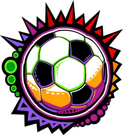 futbol: Pallone da calcio colorato mosaico Design Vettoriali