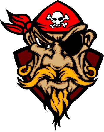 high school sports: Pirate Mascot with Bandana Cartoon Image Illustration