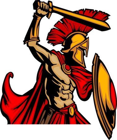 spartano: Troia mascotte corpo con spada e scudo illustrazione