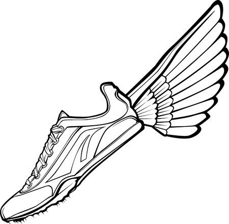 running shoes: Track Shoe with Wing Illustration