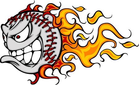 softbol: Flaming b�isbol o Softball cara  Vectores
