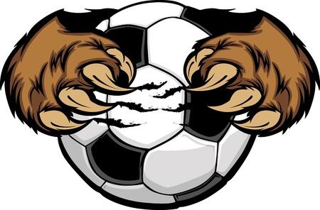 futbol: Pallone da calcio con artigli orso  Vettoriali