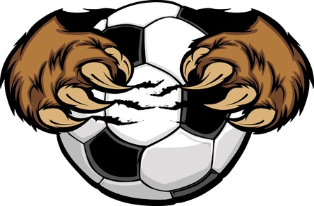 clawing: Soccer Ball With Bear Claws  Illustration