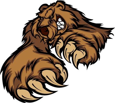 oso caricatura: Oso grizzly mascota cuerpo con patas y garras