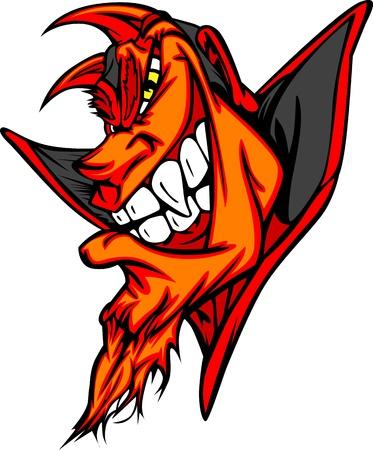 Demon Mascot Head  Vector