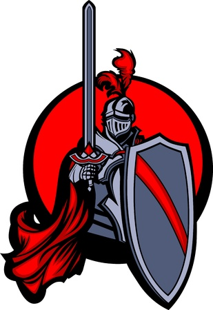 knight helmet: Medieval Knight with Sword and Shield  Illustration