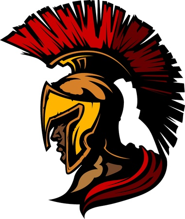 Roman Centurion Mascot Head with Helmet  Vector