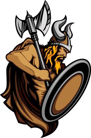 vikingo: Viking Norseman mascota permanente con Ax y escudo Vectores