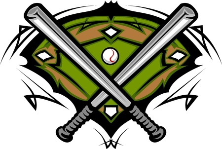 Campo de béisbol con softbol cruzó los murciélagos