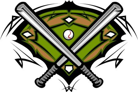 softbol: Campo de béisbol con softbol cruzó los murciélagos  Vectores