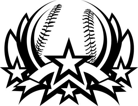 Béisbol gráfico plantilla con las estrellas