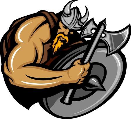 vikingo: Viking Norseman mascota caricatura con Ax y escudo