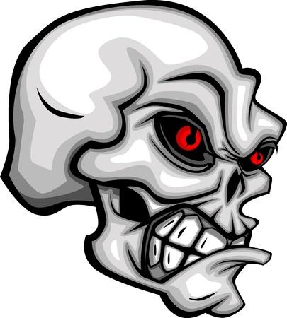 Dibujos animados de cráneo con ojos rojos