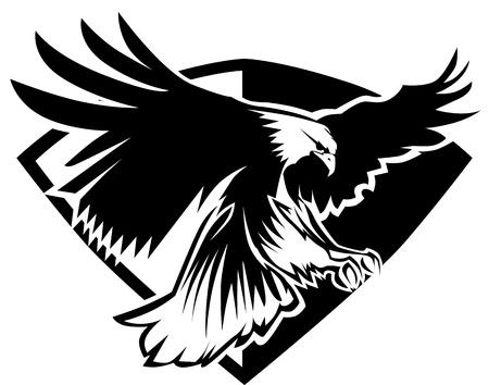 aigle: Eagle mascotte battant des ailes insigne Design
