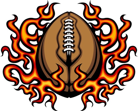 american football ball: American Football Template with Flames