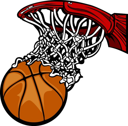 basketball shot: Basketball Hoop with Basketball Cartoon  Illustration