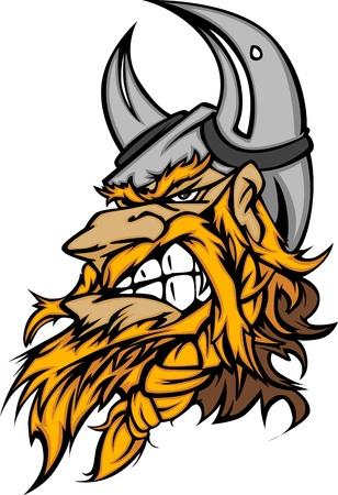 vikingo: Imagen de cabeza de mascota caricatura Viking con casco con cuernos