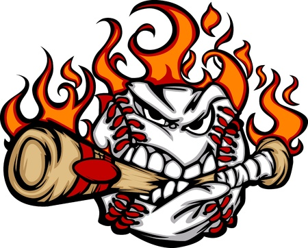 baseball cartoon: Baseball Flaming Face Biting Bat Image