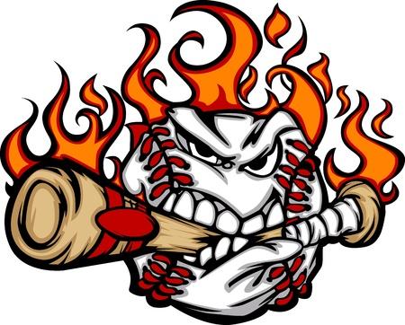 brandweer cartoon: Baseball Flaming Gezicht Bijten Bat Afbeelding