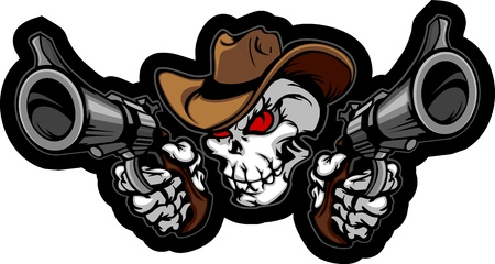 Skull Cowboy Aiming Guns Vector