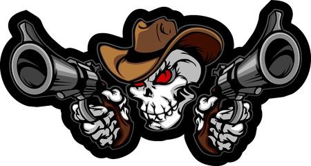 Skull Cowboy Richten Guns Vector Illustratie