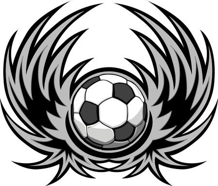 futbol: Modello di calcio con le ali Vettoriali